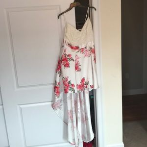 Hi-Lo white dress with pink flowers